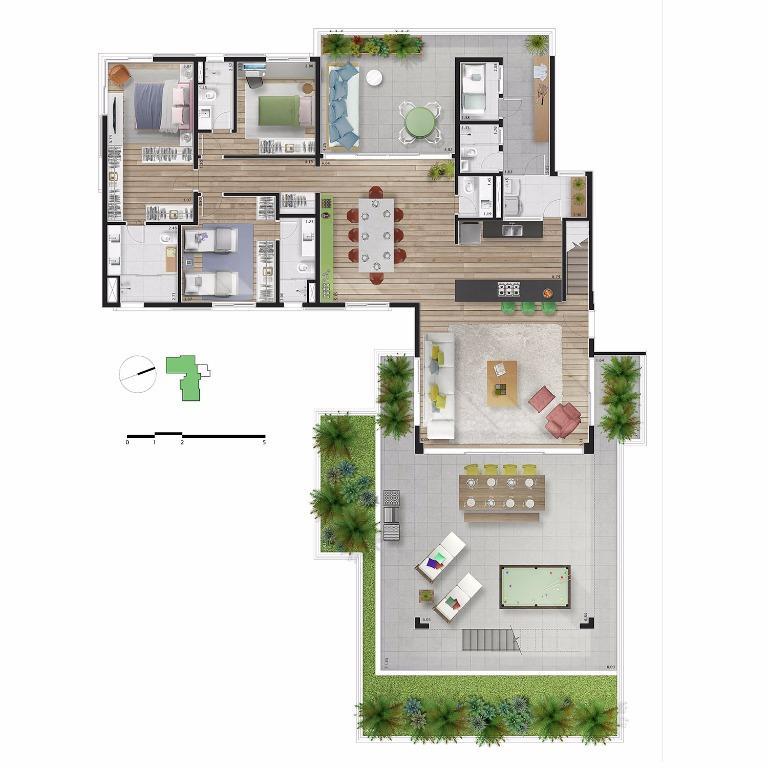 Planta Cobertura Duplex  Pav Inferior - Unid 81 - 572 m²