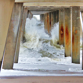 Under pier by Peg Elmore - Nature Up Close Water ( water, under, pier )