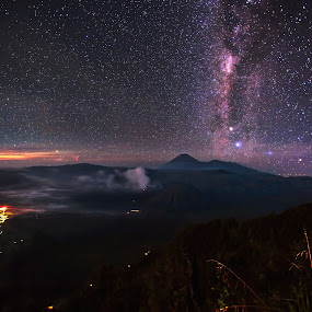 Bromo & Monster Galaxy by Bertoni Siswanto - Landscapes Starscapes ( mountains, night photography, indonesia tourism, starscapes, landscape photography, bromo, milky way,  )