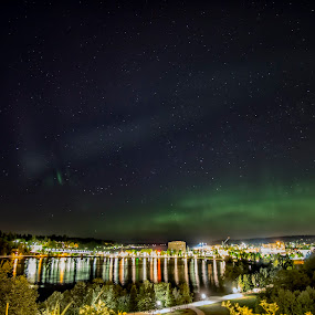 Mothers Day Northern Lights by Scott Wood - Landscapes Starscapes ( lights, washington, sky, puget sound, green, aurora, northern lights, night, olympia )