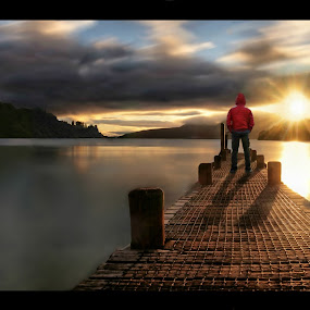 Lake Tarawera Morning by Jomy Jose - Digital Art Places ( tarawera, pier, lake, wharf, morning, sun, new zealand, lake taraera, rotorua )