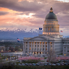 Utah State Capital by Dallas Golden - Buildings & Architecture Public & Historical ( clouds, colorful, utah, sunset, capital )