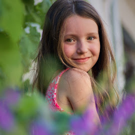 Bodrered with flower bells by Jiri Cetkovsky - Babies & Children Child Portraits ( child, viloet, bell, girl, summer, flowwer, portrait )