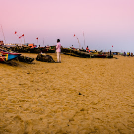 Resting Boats on the Beach by Prasanta Das - Landscapes Beaches ( water, boats, beach, evening, people )