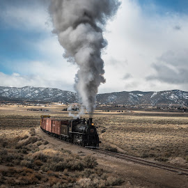 Power from Forty by Mark Franks - Transportation Trains ( nnry, nevada northern railway, steam train, train, nv )