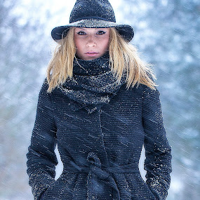 Winter Time.. by Sorin Bogdan - People Portraits of Women ( face, girl, winter, 2013, hands, woman, snow, cute, black, hat )