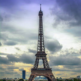 Eiffel Tower on a Rainy Evening  by T Sco - Buildings & Architecture Statues & Monuments ( eiffel tower, rain, wet, skyline, water, paris, trip, france, vacation, eiffel, travel, europe, tower, architecture,  )
