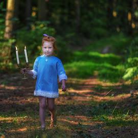 Candles by Piotr Owczarzak - Babies & Children Children Candids ( forest, girl, summer, walk, kids )