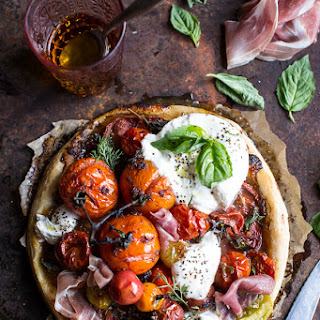 Quick Balsamic Fig Roasted Tomato and Burrata Cheese Tarts.