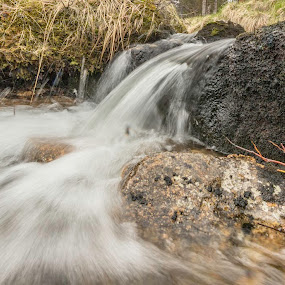 Creek by Benny Høynes - Landscapes Waterscapes ( water, cloudes, grass, creek, spring, sun )