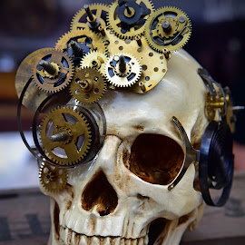 Steampunker by Marco Bertamé - Artistic Objects Still Life ( skull, heart, gear wheel, steampunk, teeth, golden )