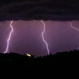 Intense lightning over south Austria by Jernej Lipovec - Landscapes Weather ( thunder, hills, lightning, sky, bolt, church, thunderstorm, night, landscape, storm, austria )