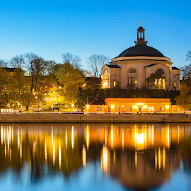 Church at Night by D L - City,  Street & Park  Night ( exposure, nordic, sweden, europe, stockholm, church, scandinavia, travel, long, baltic, sun, city, midnight, night )