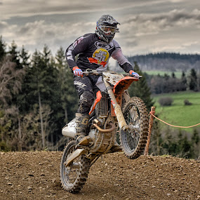 by Marco Bertamé - Sports & Fitness Motorsports ( one wheel, 2, red, motocross, speed, number, brown, race, noise, jump )