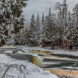 Freeze Over by Don Malcolm - Landscapes Waterscapes ( icewater, ice, snow, cascades, river )