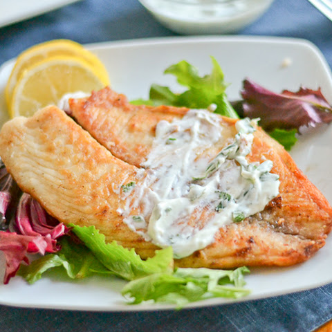 Pan-Fried Tilapia with Herbed Yogurt Sauce