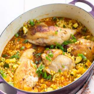One Pot Garlic Chicken with Israeli Couscous