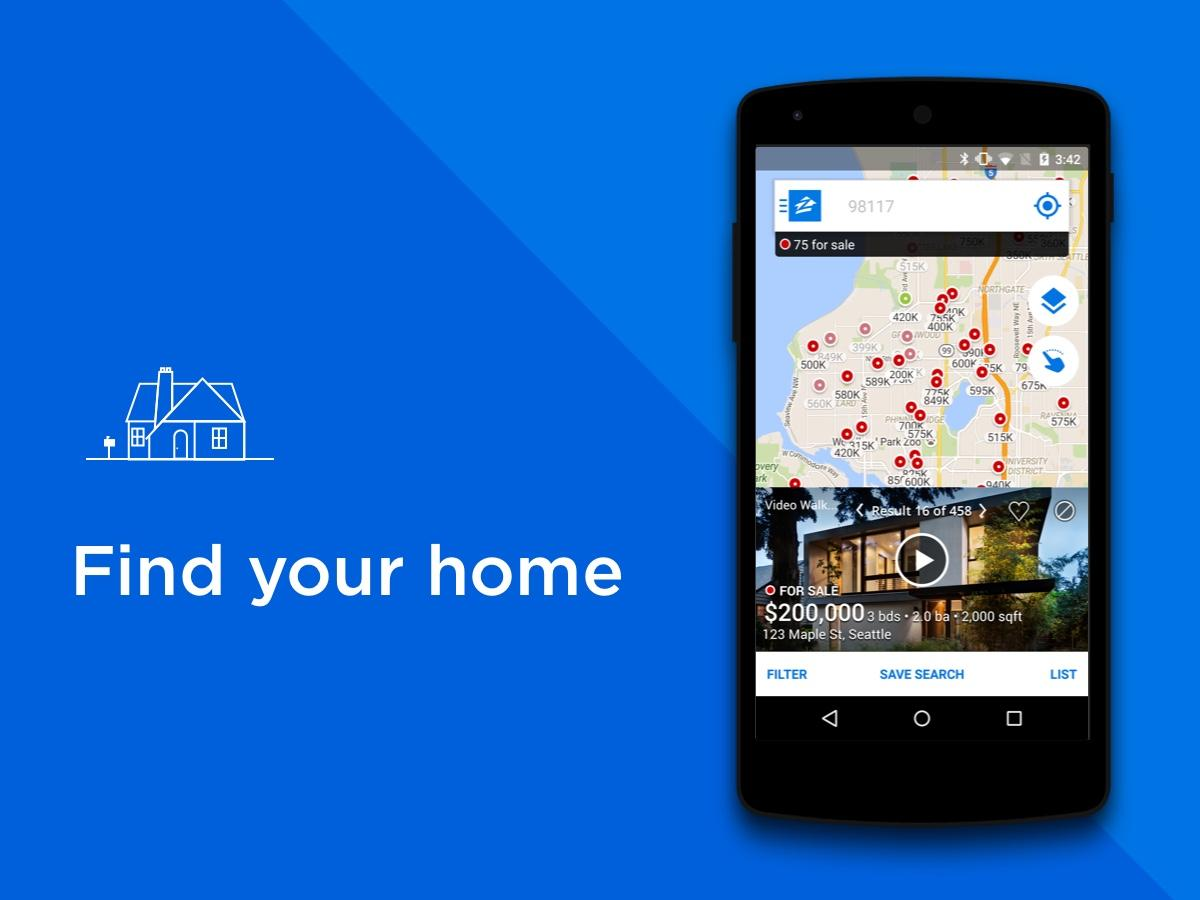 Real Estate & Rentals - Zillow Screenshot