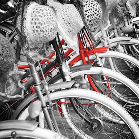 Red Bike by Jenni Ertanto - Transportation Bicycles ( red, bike, art, bw, transportation )