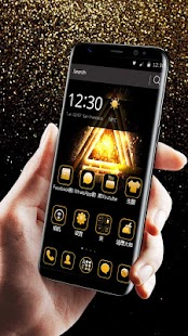 Business Concise Black Gold Glow Launcher Theme