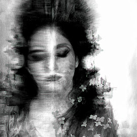 dream to reality by Kathleen Devai - Digital Art People ( fantasy, monochrome, dreams, woman, surreal, portrait )