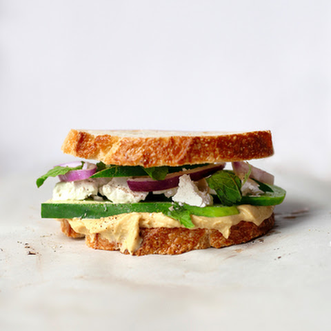 Hummus, Feta, Cucumber and Mint Sandwiches