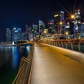 Shenton @ Blue Hour by Gordon Koh - City,  Street & Park  Skylines ( shenton way, skyline, blue hour riverfront, skyscraper, financial district, jubliee bridge, asia, buildings, long exposure, travel, cityscape, waterfront, singapore, city )