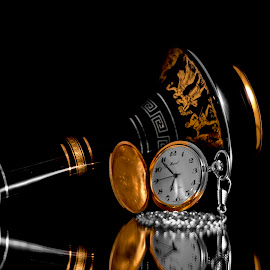 Time and a Bottle by Greg Bennett - Artistic Objects Still Life ( retirement watch, pocket watch, blue and gold, still life, watch, greece, black and whilt, athens, pottery, artistic objects )