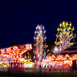 nighttime at the festival by Fraya Replinger - City,  Street & Park  Amusement Parks ( lights, carnival, night, fair, ferris wheel )