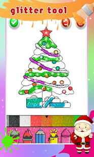 Christmas Coloring Book Glitter For Kids