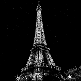 by Paul Scullion - Buildings & Architecture Statues & Monuments ( paris, eiffel tower, building, black and white, light trails, france, city at night, street at night, park at night, nightlife, night life, nighttime in the city,  )
