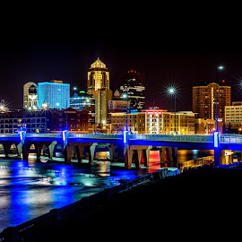 Martin Luther King Jr Pkwy Bridge - Des Moines, IA by Justin Rogers - City,  Street & Park  Skylines ( water, reflection, skyline, waterscape, architecture, cityscape, city, nightscape, skyscraper, night photography, long exposure, night, bridge, downtown, river )