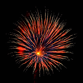 Firey by Brenda Hooper - Abstract Fire & Fireworks ( abstract, 4th of july, fireworks, fire,  )