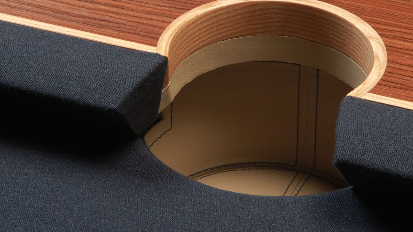 The Arc Pool Table - Steam Bent Ash Pocket Detail