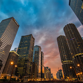 Buildings in the Sky by Jim Harmer - City,  Street & Park  Vistas ( chicago )