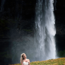 by Shawnessy Ransom - People Portraits of Women ( bride, fine art photography, waterfall, fine art portraits, iceland, destination bridals )