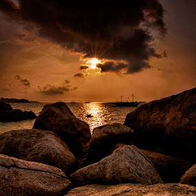 Sunsets Over Batu Berlayar Belitong  by Aloysius Alphonso - Novices Only Landscapes