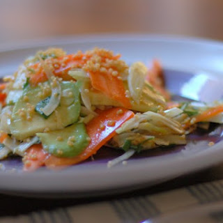 Shaved Fennel, Carrot, and Avocado Salad with Lime-Sesame-Soy Vinaigrette and Crispy Quinoa