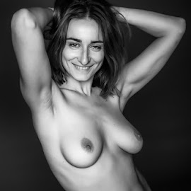 Liz Smiling by Ian Cartwright - Nudes & Boudoir Artistic Nude ( model, nude, monochrome, beauty, smile )