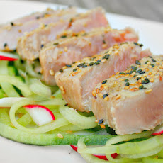 Grilled Tuna Steak with Wasabi Soy Drizzle