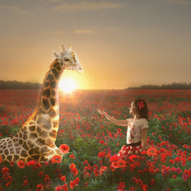 Imagination by Danielle Benbeneck - Digital Art People ( child, giraffe, sunset, digital art, children, composite, animal )
