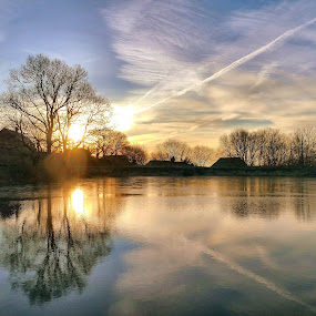 Sun On The Mill Pond by James Holdsworth - Landscapes Sunsets & Sunrises ( calm, reflection, trees, cloud, pwcsunbeams-dq, lake, sunrise )