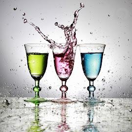 Three colourul glass splash by Peter Salmon - Artistic Objects Glass ( colour, water, splash, glasses, glass )