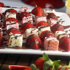 Strawberry & Angel Cake Skewers With Chocolate Dipping Sauce