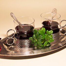Gluhwein, please! by Tuula Fagerholm - Artistic Objects Antiques ( jugend tray, red, silver, lingonberry branch, star, gluhwein )