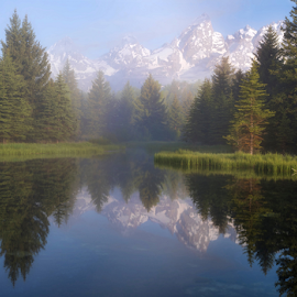 Schwabacher's Landing  by Phyllis Plotkin - Landscapes Waterscapes ( mountains, reflection, grand tetons, schwabacher's landing, water, trees )