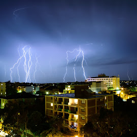 Lightning show by Luke Rickinson - City,  Street & Park  Neighborhoods ( lighting, weather, night, storm, city )
