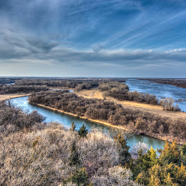 Two Rivers by Patricia  Yocum - Landscapes Prairies, Meadows & Fields