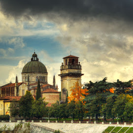 Across the River by Darin Williams - City,  Street & Park  Historic Districts ( clouds, sky, verona, adige, italy, river )