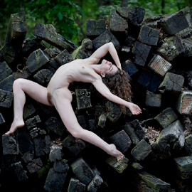 Railway Pile by Marie Otero - Nudes & Boudoir Artistic Nude ( natural light, model, nude, wood, nature, female, green, railroad, outdoor, fine art, woods, natural beauty )
